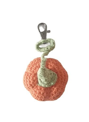 Quzucuk Kids Amigurumi Özel Tasarım Organik El Örgüsü Balkabağı Anahtarlık Ø7Cm Oranj